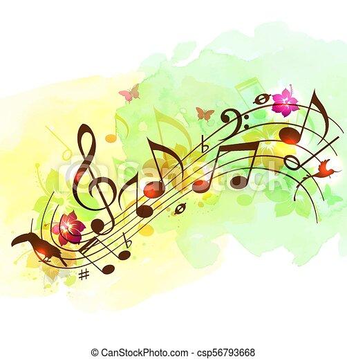 abstratos, notas música, fundo - csp56793668