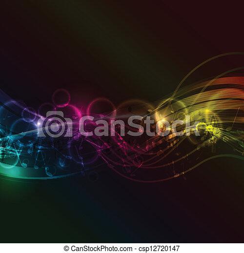 abstratos, notas música, fundo - csp12720147