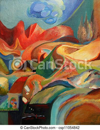 abstratos, painting. - csp11054842