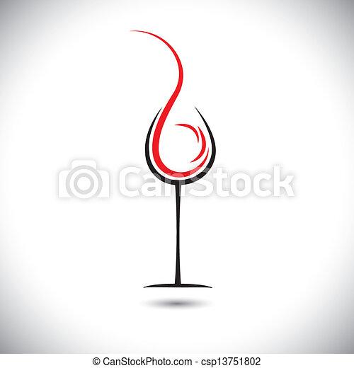 abstratos, pouring(splash), ilustração, vidro, vetorial, vinho - csp13751802