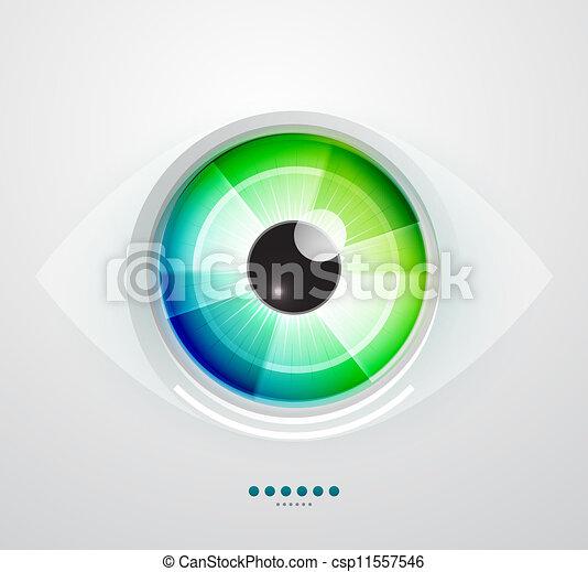 abstratos, vetorial, ilustração, tecno, eye. - csp11557546
