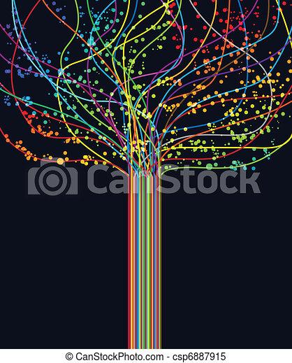 abstratos, vetorial, tecnologia, retro, lines. - csp6887915