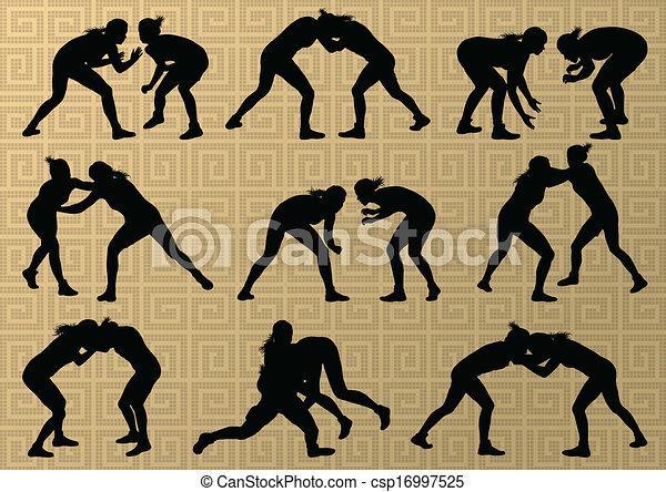 abstratos, wrestling, jovem, ilustração, grego, romana, vetorial, fundo, ativo, silhuetas, desporto, mulheres - csp16997525