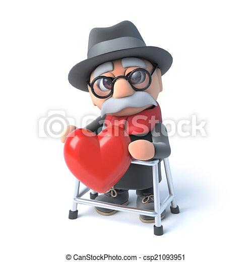 El abuelo 3D es romántico - csp21093951