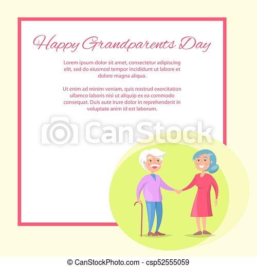 Abuelos, pareja, juntos, caminata, 3º edad, día, feliz. Texto, marco ...