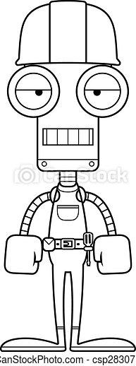 Un robot trabajador de la construcción aburrido - csp28307183