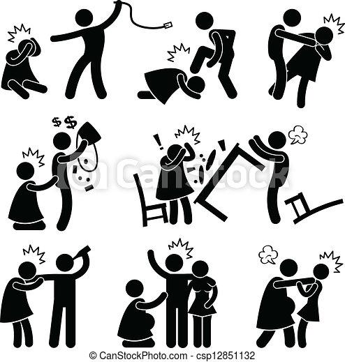 abusif, petit ami, mari, pictogramme - csp12851132