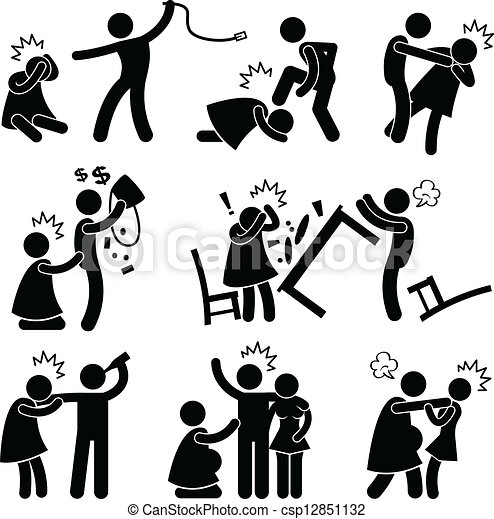 Abusive Husband Boyfriend Pictogram - csp12851132