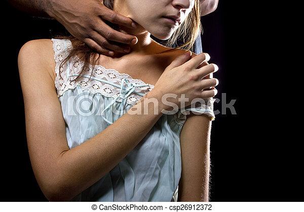 Abusive Man Behind a Female Victim - csp26912372