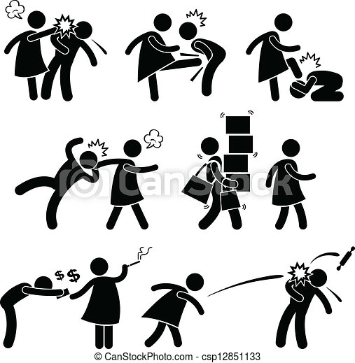 Abusive Wife Girlfriend Pictogram - csp12851133