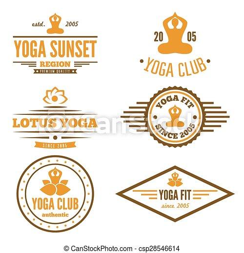 abzeichen, satz, emblem, klub, weinlese, logotype, elemente, joga, oder, logo - csp28546614
