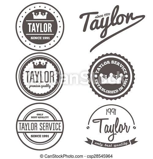 abzeichen, satz, emblem, weinlese, logotype, elemente, schneider, oder, logo - csp28545964