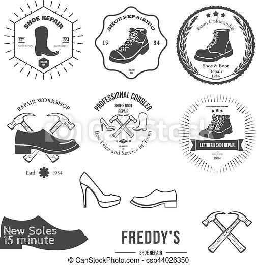 abzeichen, satz, emblem, weinlese, logotype, elemente, schuster, oder, logo - csp44026350