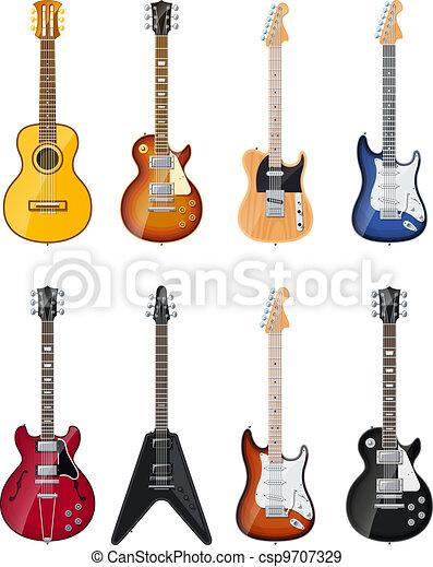 Acústico Guitarras Eléctricas Opacidad Sombras Conjunto