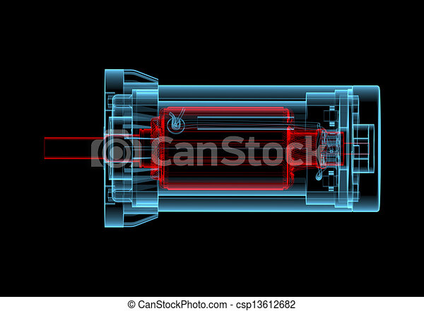 AC Electric motor (3D xray red and blue transparent) - csp13612682