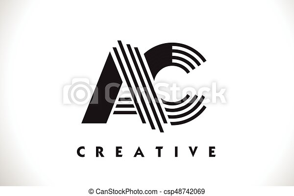 Line Design Clipart Free : Ac logo letter with black lines design line vector clip