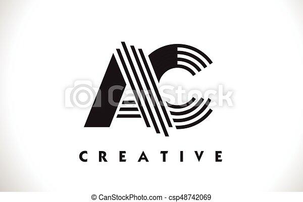 Ac logo letter with black lines design. line letter vector ...