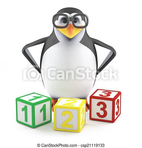 El pingüino académico 3D enseña matemáticas - csp21119133