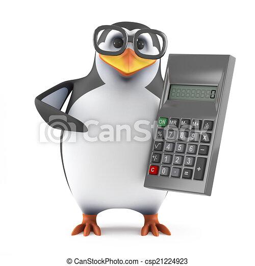 Pingüino académico 3D con una calculadora - csp21224923