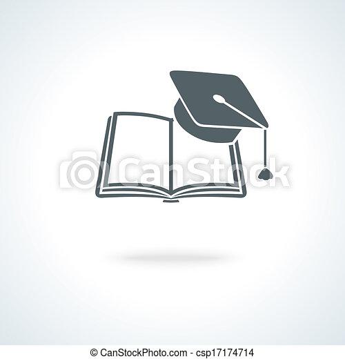 Libro abierto con tapa académica cuadrada - csp17174714