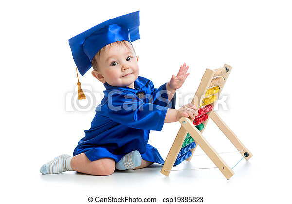 academic baby playing with abacus toy - csp19385823