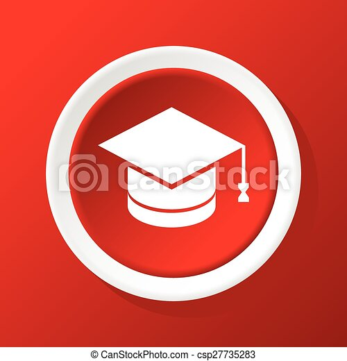 Academic hat icon on red - csp27735283