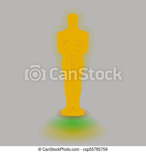 Academy award icon in flat style isolated on white background. Films and cinema symbol stock vector illustration. - csp55785759