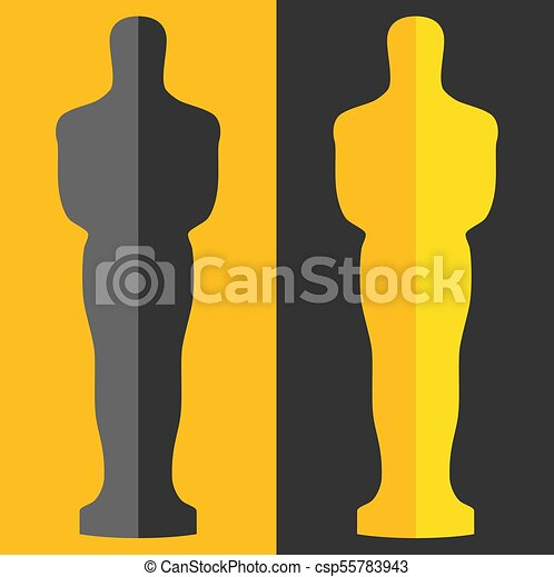 Academy award icon in flat style isolated on white background. Films and cinema symbol stock vector illustration. - csp55783943