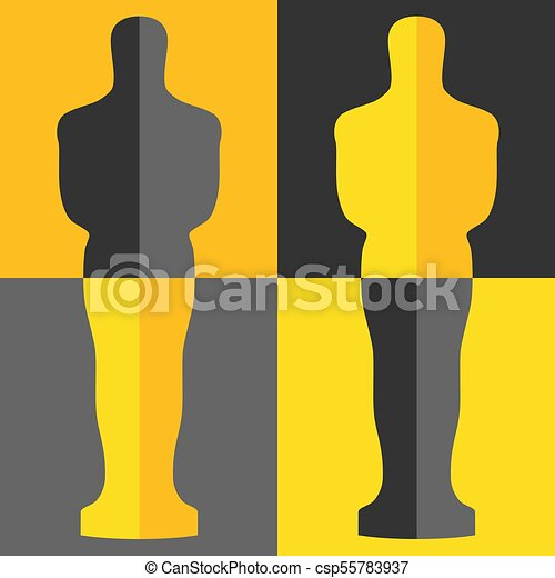 Academy award icon in flat style isolated on white background. Films and cinema symbol stock vector illustration. - csp55783937