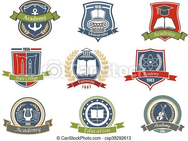 Academy, university and college heraldic emblems - csp38292613