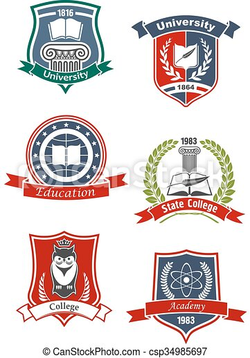 Academy, university and college icons - csp34985697