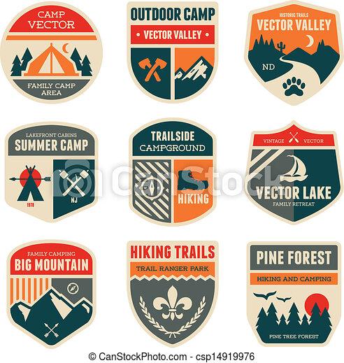 acampamento, retro, emblemas - csp14919976