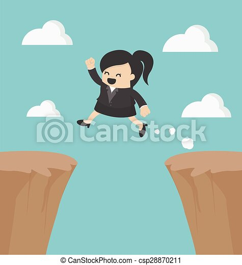 Mujer de negocios saltando por el acantilado - csp28870211