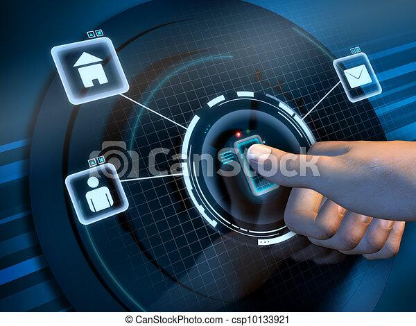 accès, empreinte doigt - csp10133921