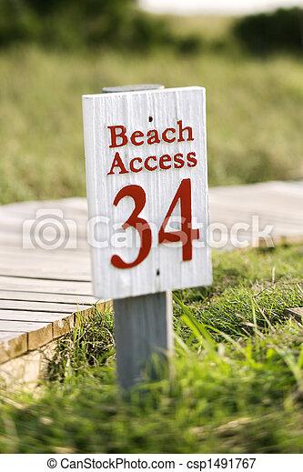 accès, plage, tête, chauve, island. - csp1491767