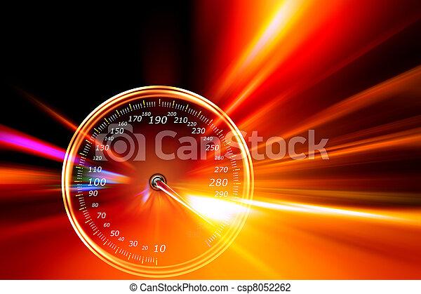 accelerazione, tachimetro, strada, notte - csp8052262