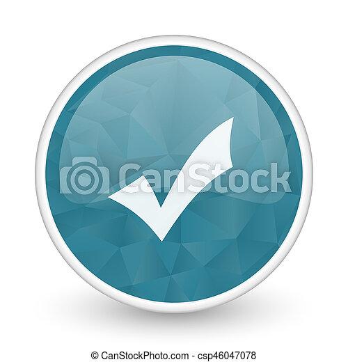 Accept brillant crystal design round blue web icon. - csp46047078