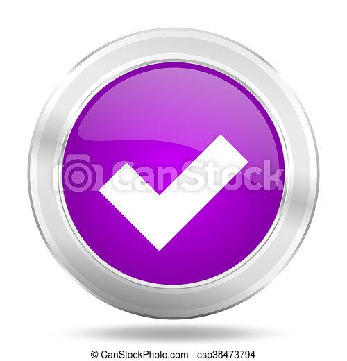 accept round glossy pink silver metallic icon, modern design web element - csp38473794
