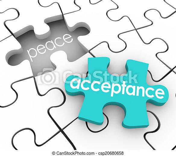 Acceptance Puzzle Piece Complete Inner Peace Admit Fault Shortco - csp20680658