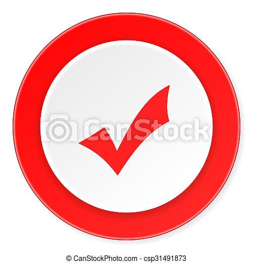 accepter, fond, moderne, icône, cercle, conception, plat, rouges, 3d, blanc - csp31491873