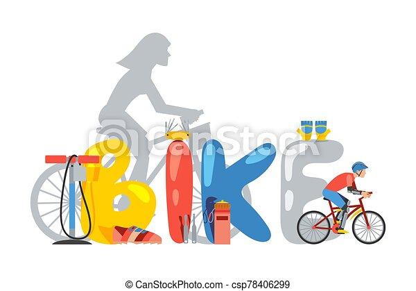 accesorios, tienda, bicicleta, vector, ilustración, tienda, tipografía, cartel, bandera, bicicleta - csp78406299
