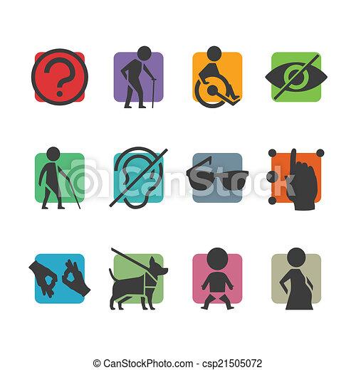 accesso, set, colorito, persone, fisicamente, invalido, vettore, segni, icona - csp21505072