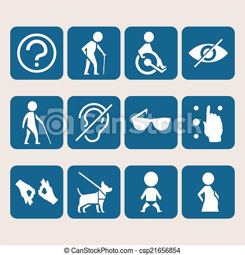 accesso, set, colorito, persone, fisicamente, invalido, vettore, segni, icona - csp21656854