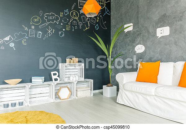 Accessoires, woonkamer, geel licht. Woonkamer, licht, moderne ...