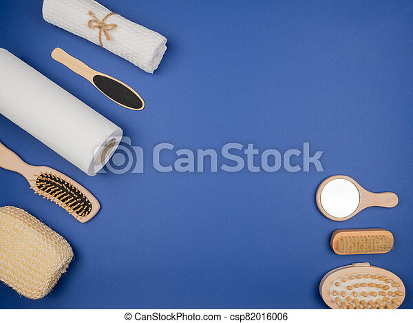 Accessories For Bathroom Decor On Blue Background The View From The Top Canstock