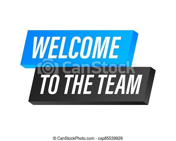 acción, illustration., label., azul, equipo, publicidad, escrito, bienvenida, signo., vector - csp85539929