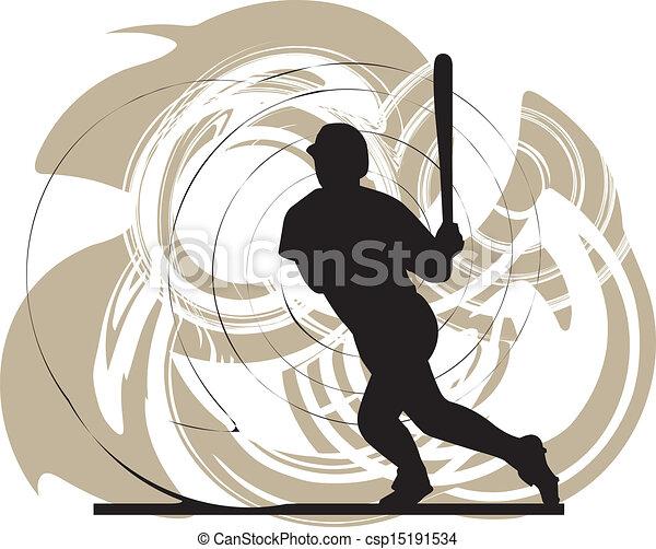Jugador de béisbol en acción - csp15191534