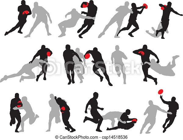 El grupo de acción Rugby posa silueta - csp14518536