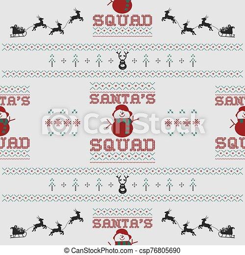 acción, squad., -, illustration., fiesta, tipografía, santa, vector, navidad, divertido, navidad, seamless, diversión, diseño, gráfico, feo, cita, retro, decoración, snowman, patrón, plano de fondo, suéter, deer., impresión - csp76805690