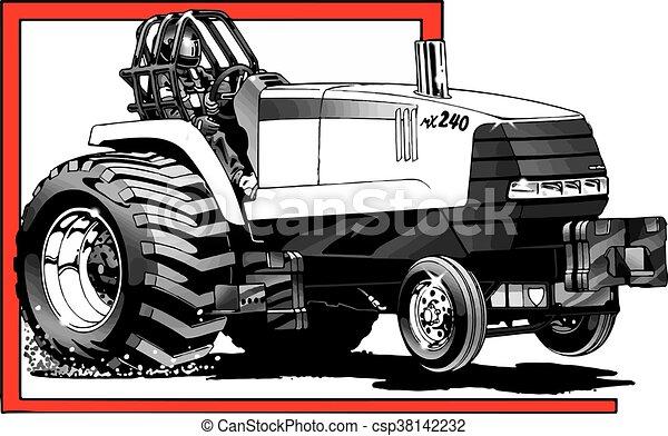 Tirando del tractor en acción - csp38142232